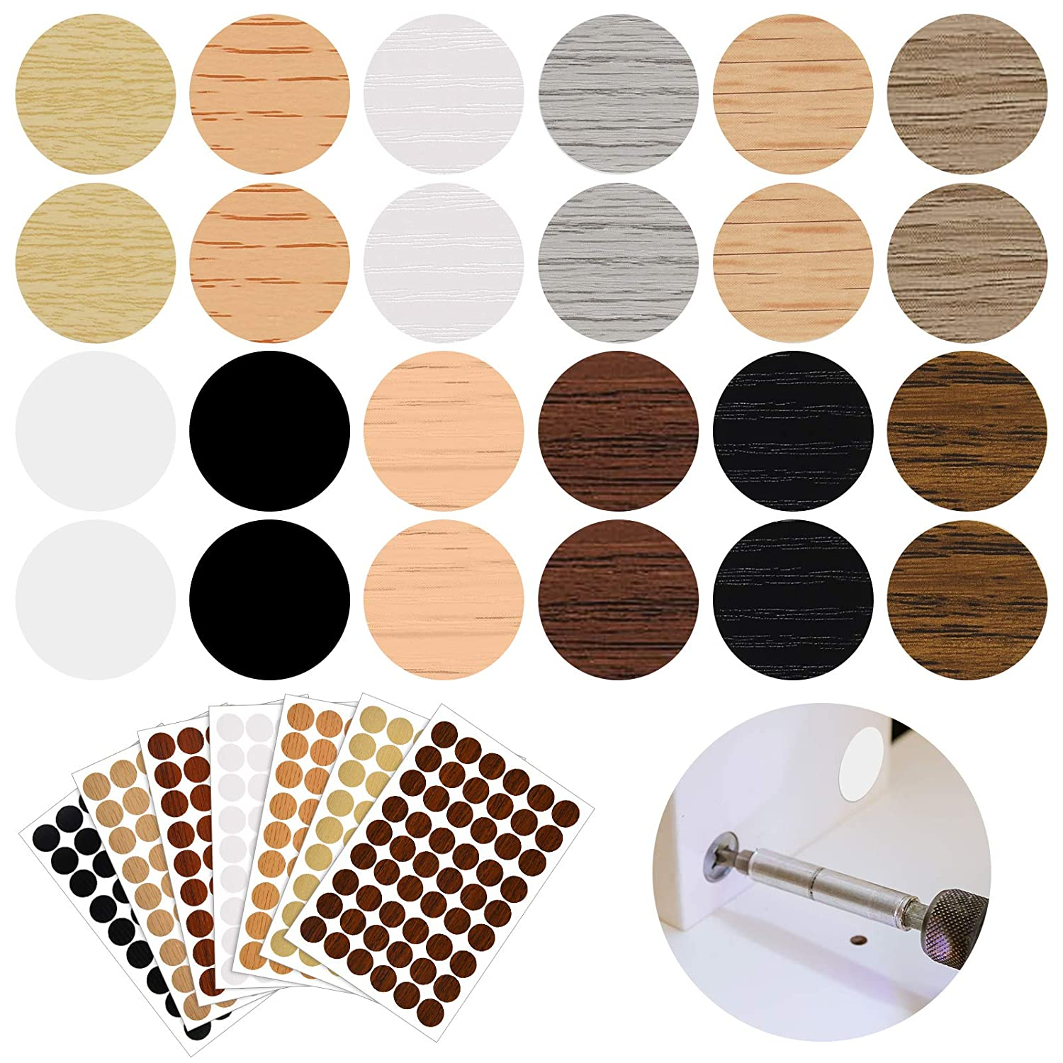 648 Pieces Adhesive Screw Hole Covers Stickers PVC Cover Caps 12 Colors Waterproof Wood Textured Cover for Wall Cabinets Desk Screws Furniture Repairing