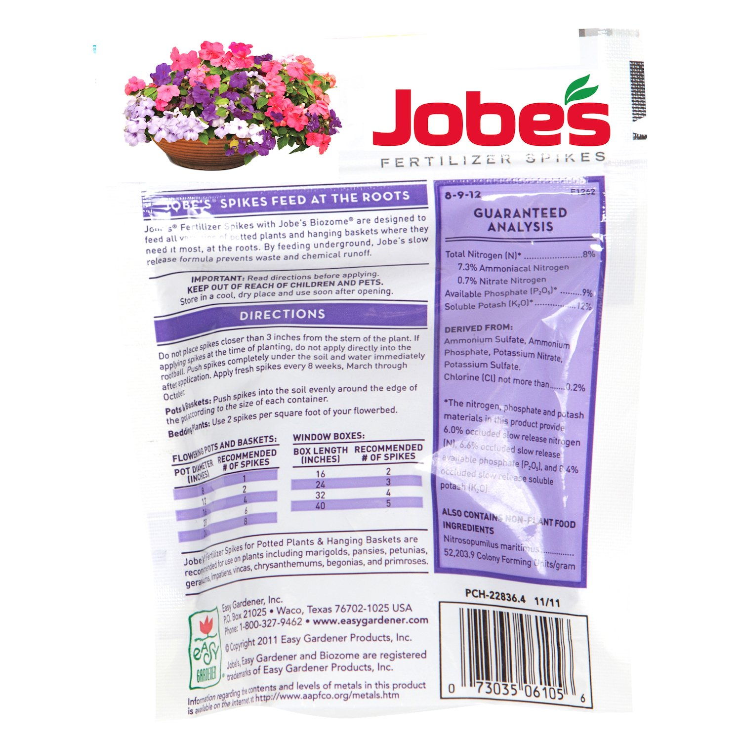 Perfect Amazon.com : Jobeu0027s Fertilizer Spikes For Flowering Plants 8 9 12 Time  Release Fertilizer For Hanging Baskets AndPotted Plants, 18 Spikes Per  Package : Slow ...