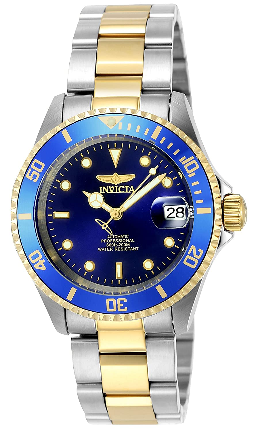 watches outlet amazon co uk invicta unisex pro diver automatic watch blue dial analogue display and multicolour gold plated