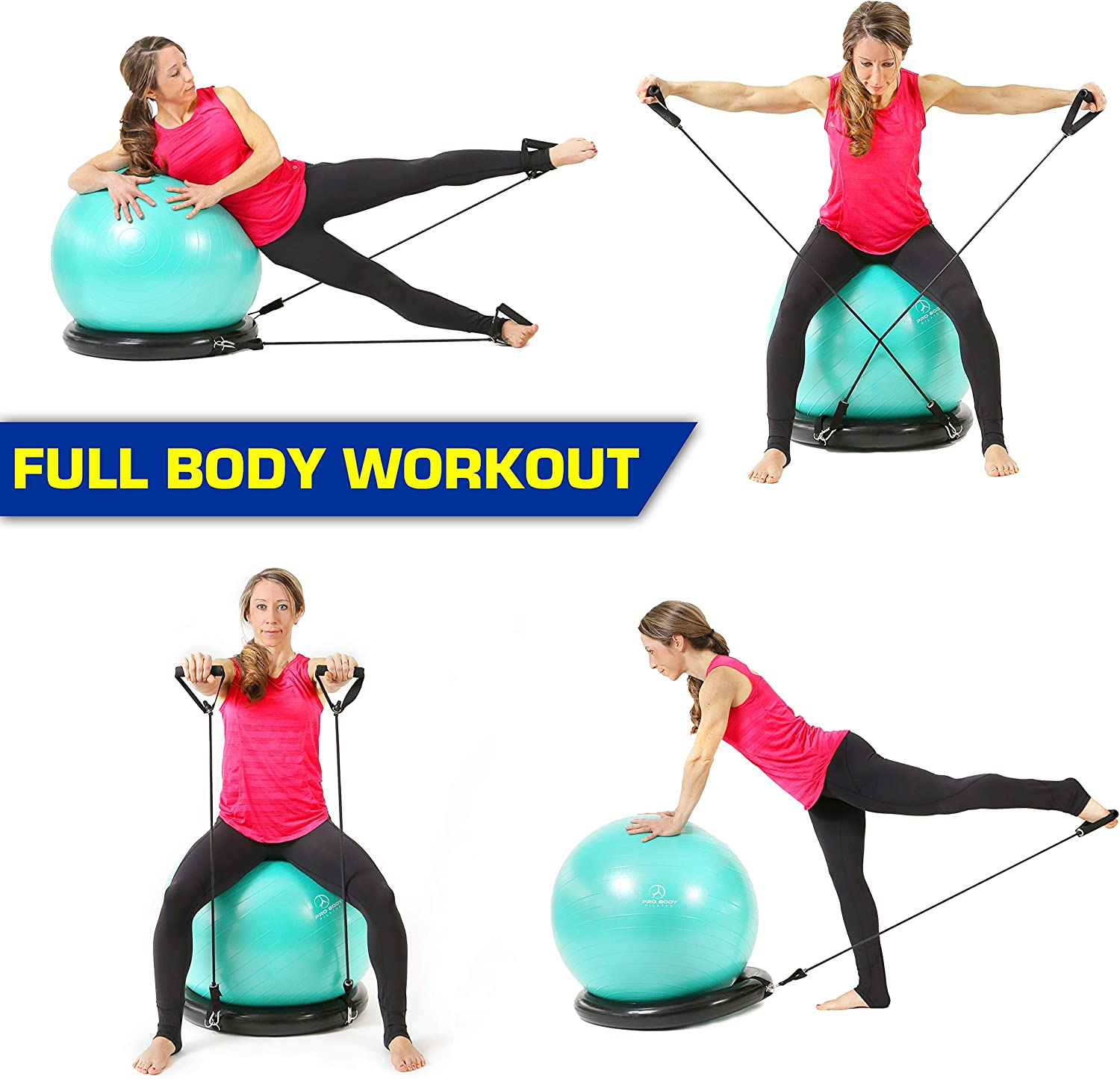 Yoga Details about  /Exercise Ball Chair with Resistance Bands Fitness Workout for Office