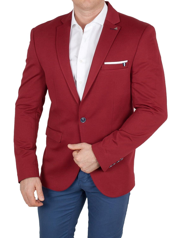 Herren Casual Stoff-Sakko, Leichter Stoff Kontrast Jackett, Regular Fit Blazer, Einknopf Jackett Einstecktuch 3307