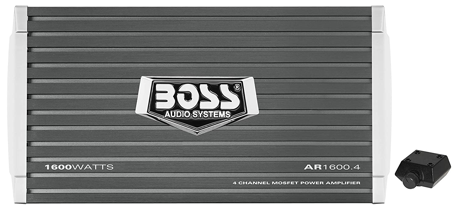 BOSS Audio AR1600.4 Armor 1600 Watt, 4 Channel, 2/4 Ohm Stable Class A/B, Full Range, Bridgeable, MOSFET Car Amplifier with Remote Subwoofer Control