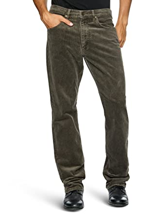 1255f364 Lee Men's Brooklyn Corduroy Straight Leg Trousers, Taupe, W40/L30 ...