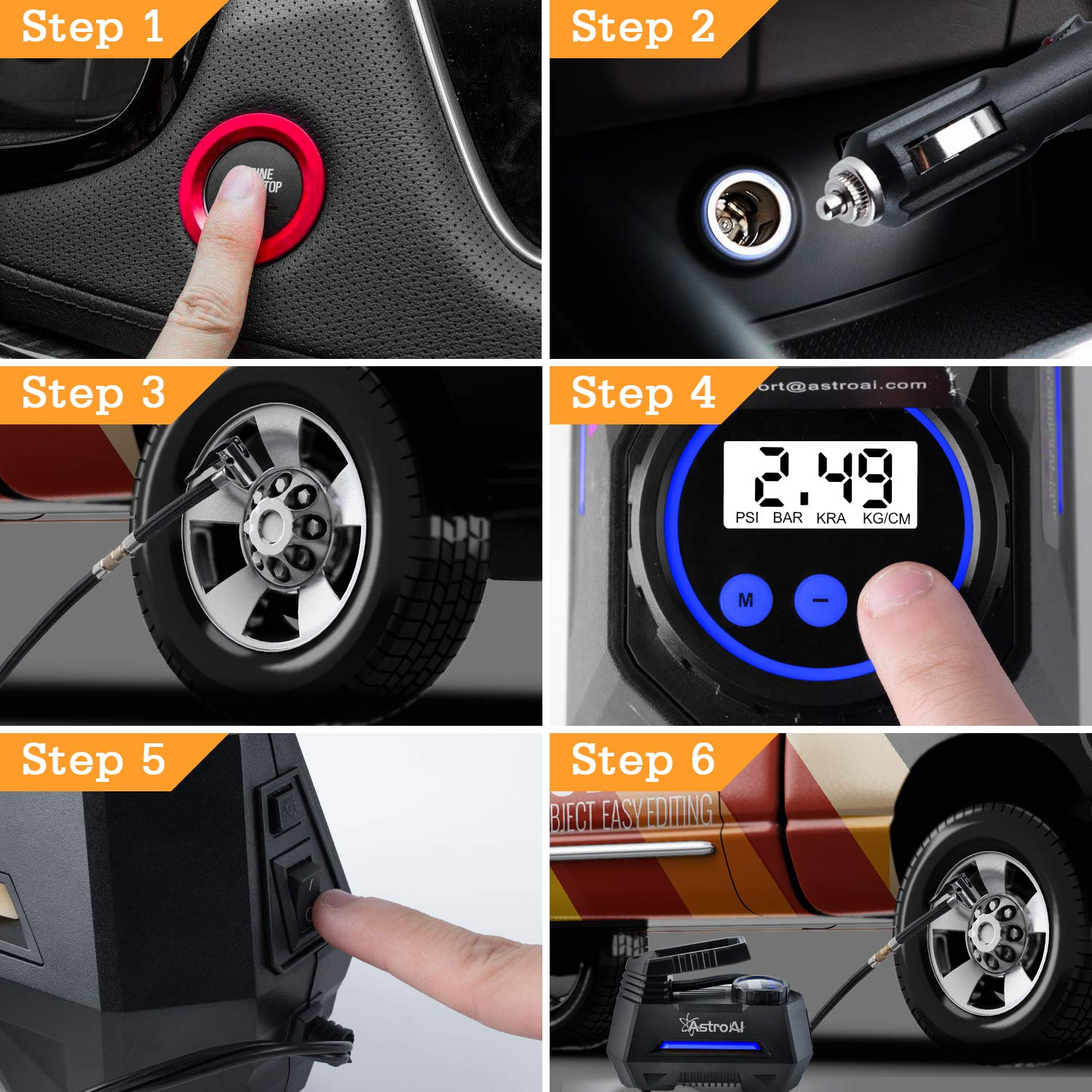 Tire Inflator with Gauge 12V DC Digital Car Air Pump 100PSI with LED Light AstroAI Portable Air Compressor Pump Bicycle Extra Nozzle Adaptors for Car Motorcycle Ball Air Mattress Larger Air Flow