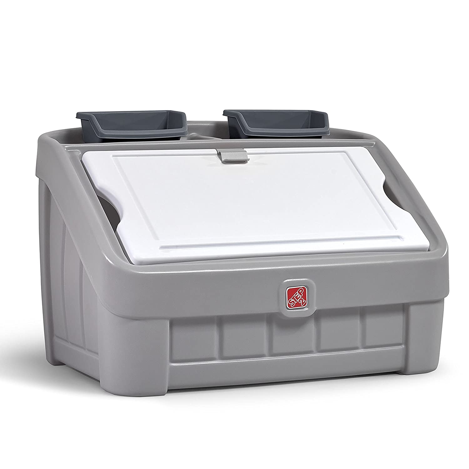 B07C7266YK Step2 2-in-1 Toy Box & Art Lid | Plastic Toy & Art Storage Container, Grey 81lx0wzDZRL