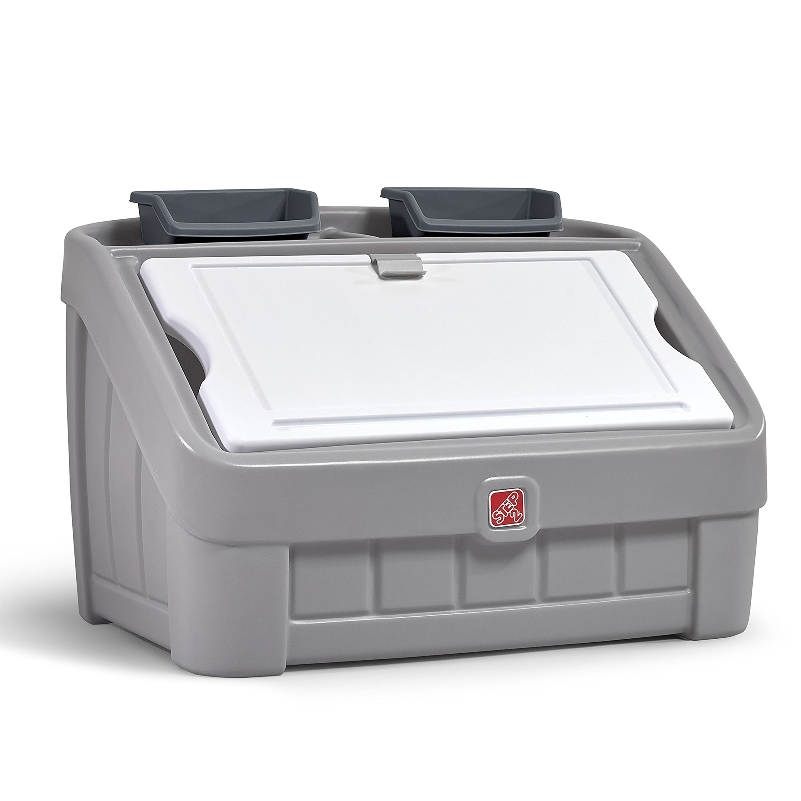 Step2 2-in-1 Toy Box & Art Lid Storage Chest, Gray