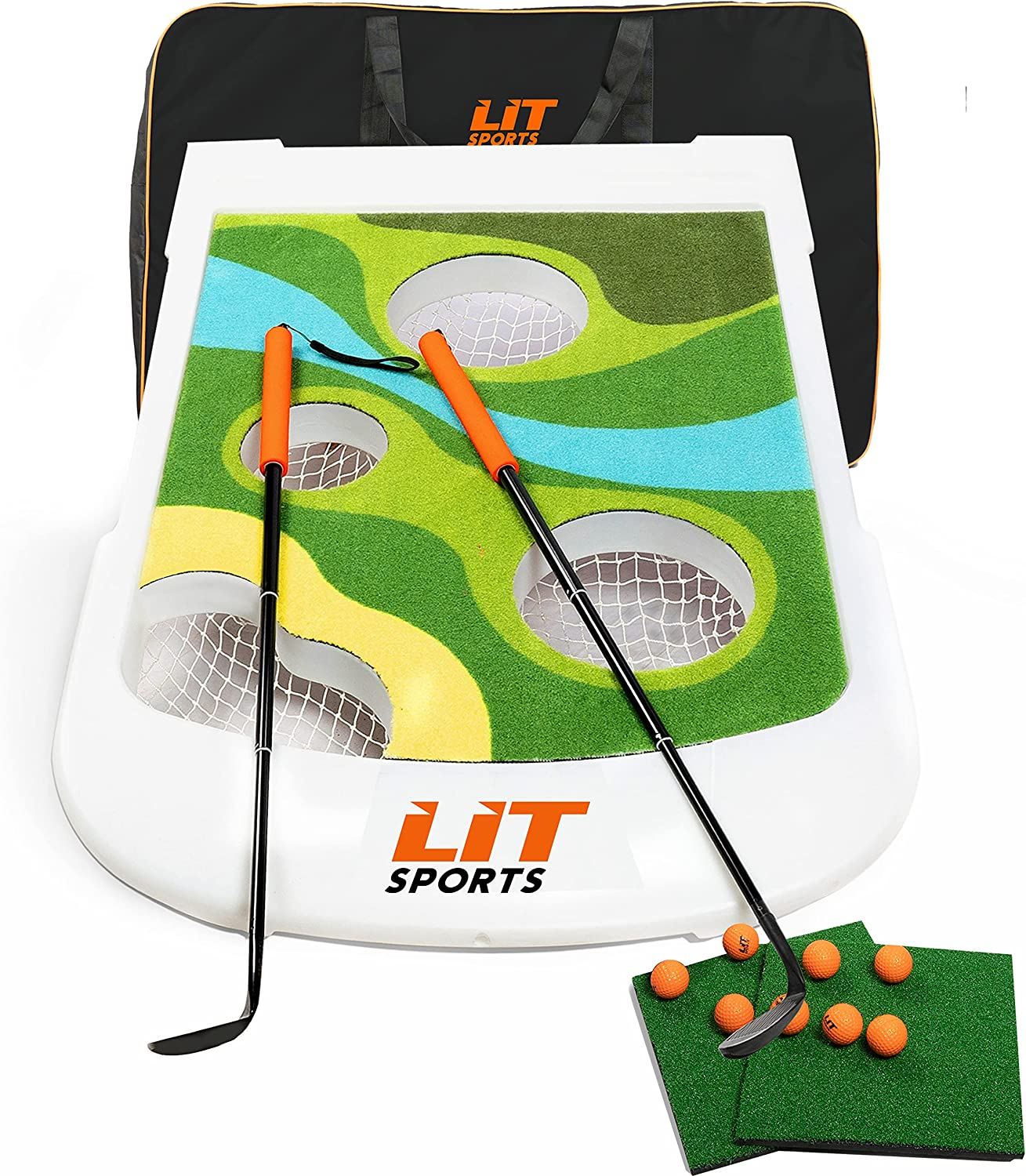 LITSPORTS Backyard Golf Chipping Game Set -Includes Clubs, Target Board, Hitting Mats, Balls & Carry Bag. Cornhole Play with Friends & Kids at Home, Indoor & Outdoor. Great for chip shot practice too!