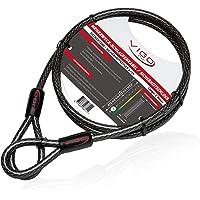 Vigo Sports Armour Cable de acero con ojales [2m] - Cable de bloqueo antirrobo resistente a la intemperie y al óxido…