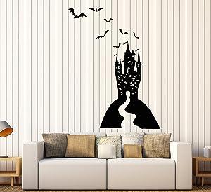 Vinyl Wall Decal Cartoon Gothic Dracula's Castle Halloween Bats Stickers Large Decor (1912ig) Black