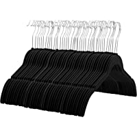 60 Pack Zober Premium Quality Space Saving Velvet Shirt Hangers Strong and Durable (Black)