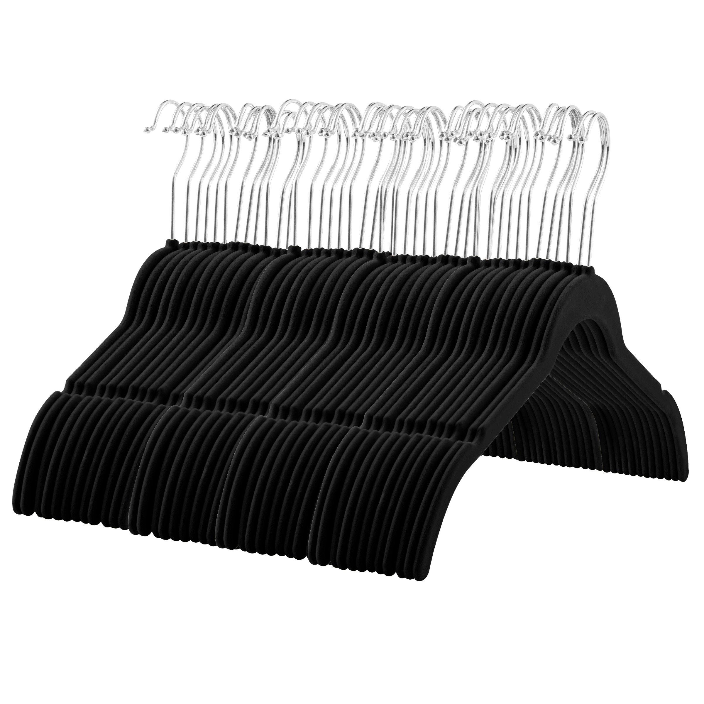 ZOBER Velvet Shirt/Dress Hangers - (60-Pack) Non-Slip Velvet Material, Contoured Shoulders and Notches, 360 Degree Swivel Hook, Ultra Thin Space Saving, for Shirts, Straps, Dresses, Camisoles, Etc