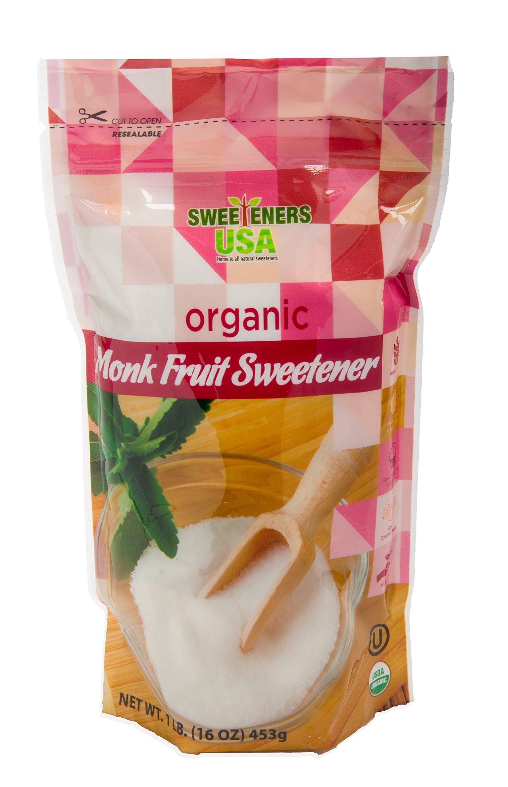 Sweeteners USA Organic Monk Fruit Sweetener 1 LB All Natural Sugar Substitute Classic White- NON GMO - Kosher Certified - GLUTEN FREE