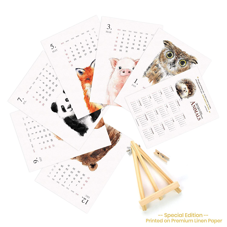 2020 Desk Calendar for Watercolor Wooden Display Easel Office (2020 Animal)
