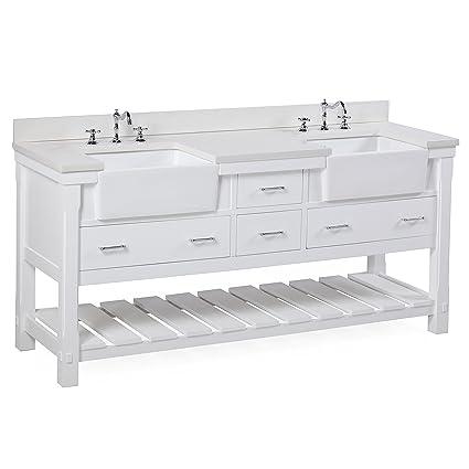 Charlotte 72 Inch Bathroom Vanity Quartzwhite Includes A White