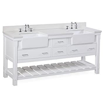 Charlotte 72 Inch Bathroom Vanity (Quartz/White): Includes A White Quartz