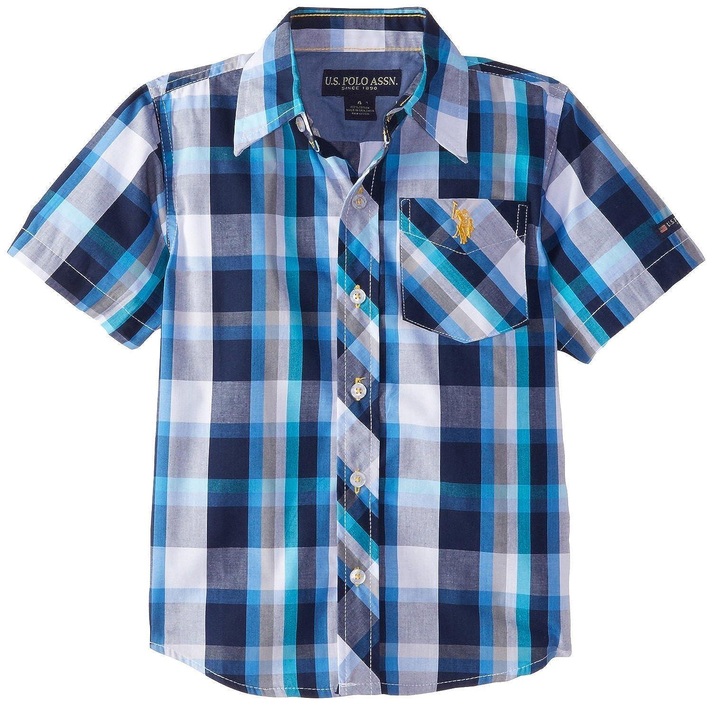 Polo Assn U.S Boys Short Sleeve Plaid Woven Shirt,