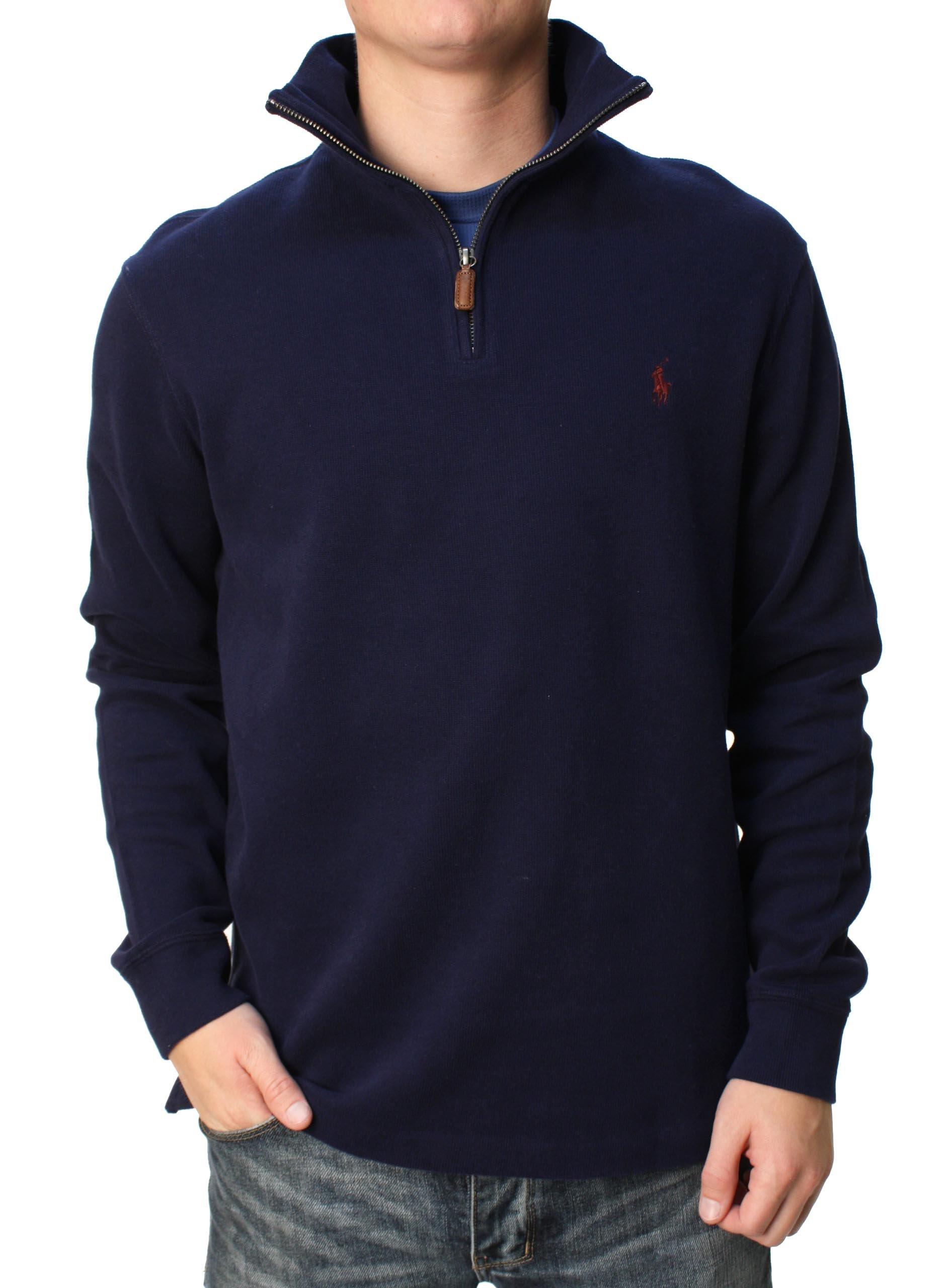 Polo Ralph Lauren Mens Half Zip French Rib Cotton Sweater (Large, Navy)