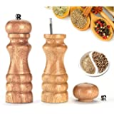 HILLPOW Natural Oak Wood Pepper Mill,Adjustable Salt and Pepper Grinder 6 inches, Pack of 2
