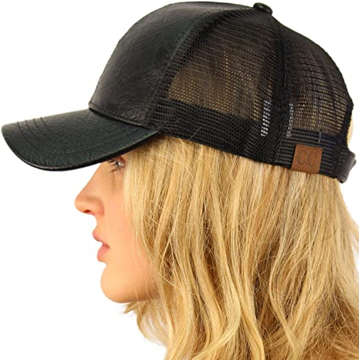 Black Solid Blank Plain Mesh Cotton Polo Trucker Curved Baseball Ball Cap Hat