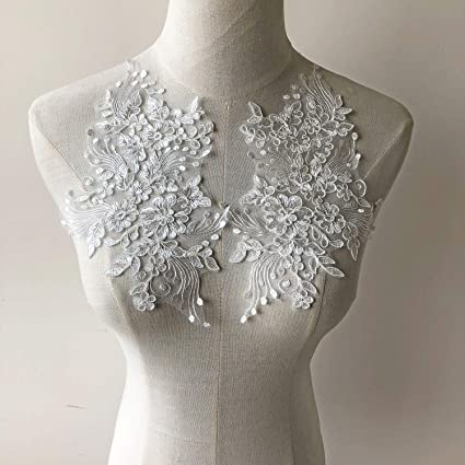 Embroidery Bridal Dress Fabric Lace Collar Flower Lace Trims Neckline Sewing Lace Applique Patches Clothing Accessories DIY White