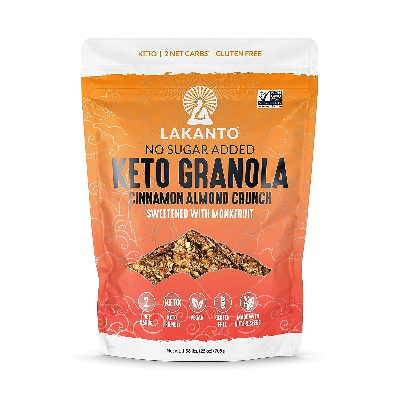 Lakanto Cinnamon Almond Crunch Granola - Delicious Snack, Quick Breakfast Cereal, Keto Friendly, Monkfruit Sweetener, Vegan, Gluten Free, Grain Free, 2g Net Carbs (25 Oz)