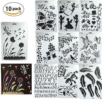 Plantillas para organizador,DANCEPANDAS 10 piezas Bullet Diario Stencil Set Plástico Planificador Plantillas para diario