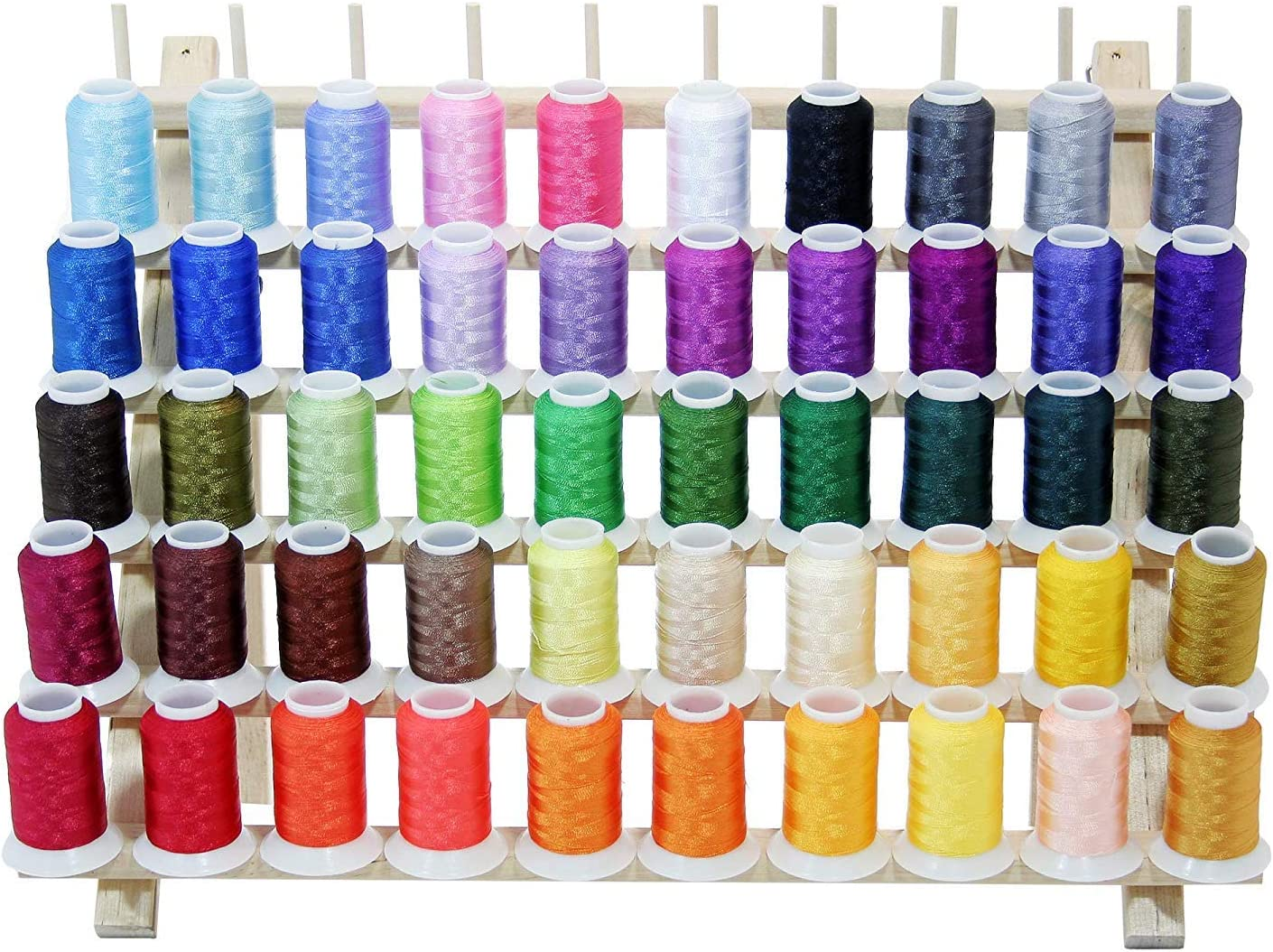 10 CONES POLY MACHINE EMBROIDERY THREAD 5 White /& 5 BLK