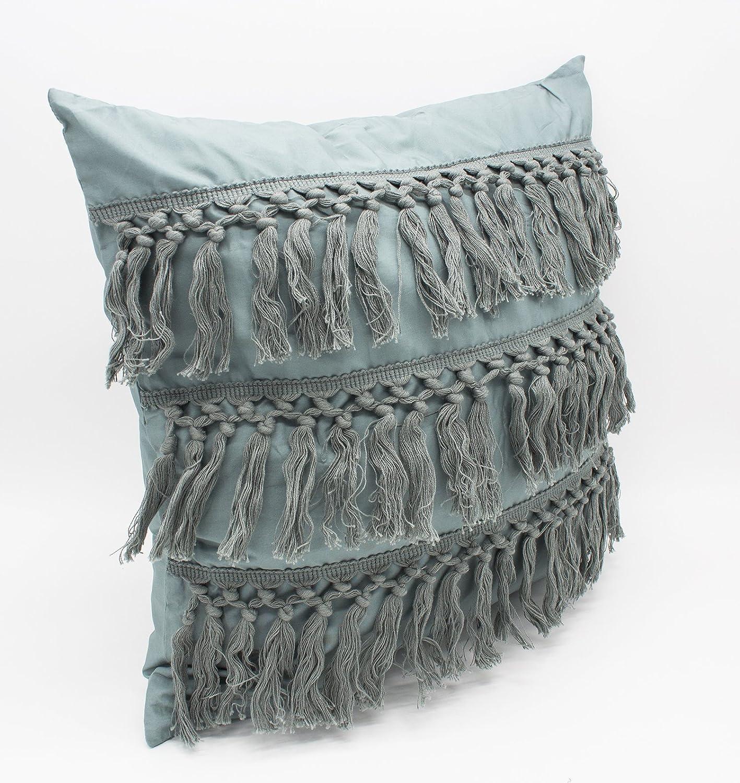 f187711fc53 Amazon.com  Fennco Styles Stylish Fringe Tassels Decorative Cotton Throw  Pillow (Sage Green