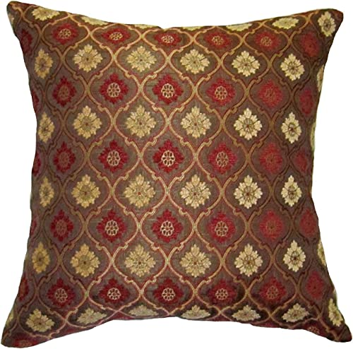 24×24 Burgundy and Gold Bulbs Brocade Decorative Throw Pillow Cover Reino Collection
