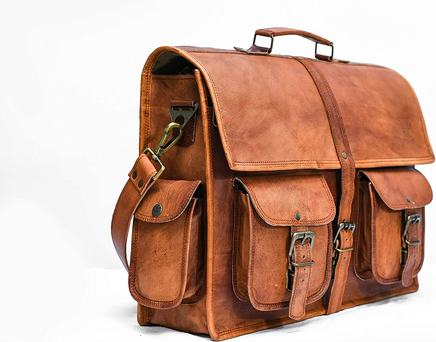 Leather briefcase laptop messenger bag satchel 16 Inch Handmade Leather bag from Rut Chas, Brown,