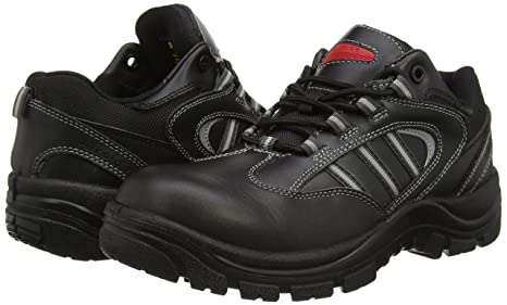 SS705CM Airside Black Leather Water Resistant Composite Safety Trainer Shoe
