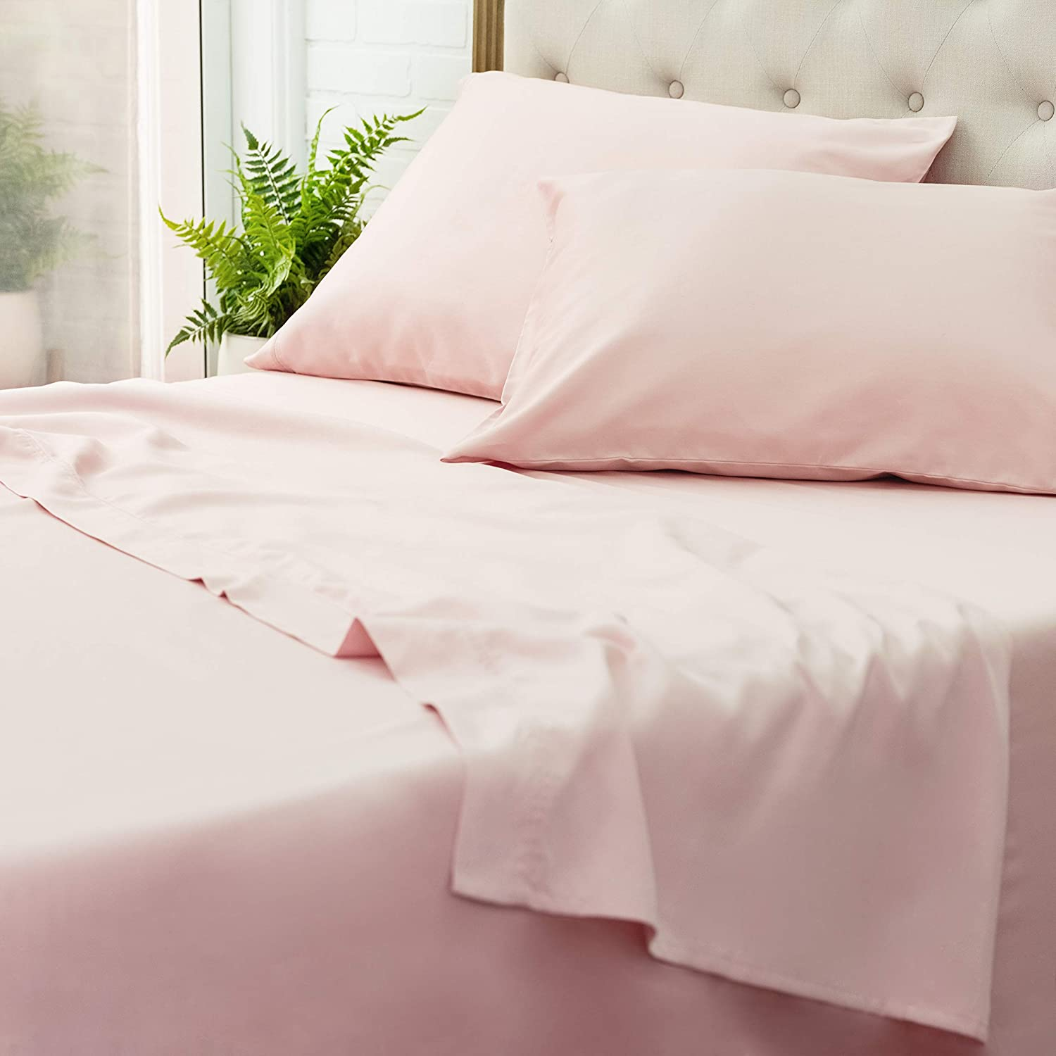 Welhome Twin Size 300 Thread Count 100% Cotton Hygro Sheet Set - 3 Piece - Super Soft Finish - Cooler in Summer & Warmer in Winter - Deep Pocket - Easy fit -Rose
