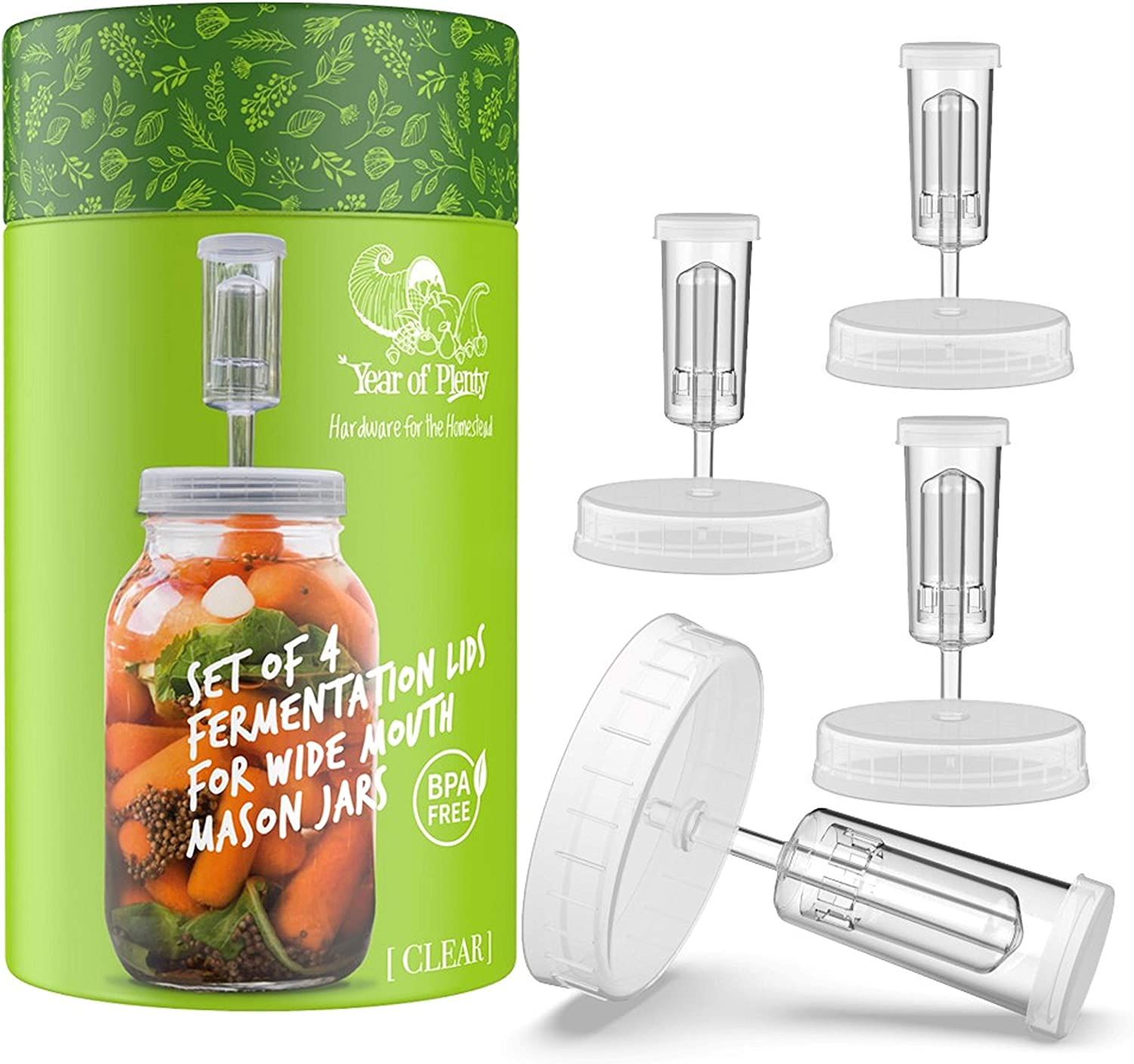 For Wide Mouth Mason Jar Ferments such as Sauerkraut Year of Plenty Fermentation Set Kimchi and Pickles Includes 4 NonSlip Grip Glass Fermentation Weights and 4 Clear Fermenting Lids