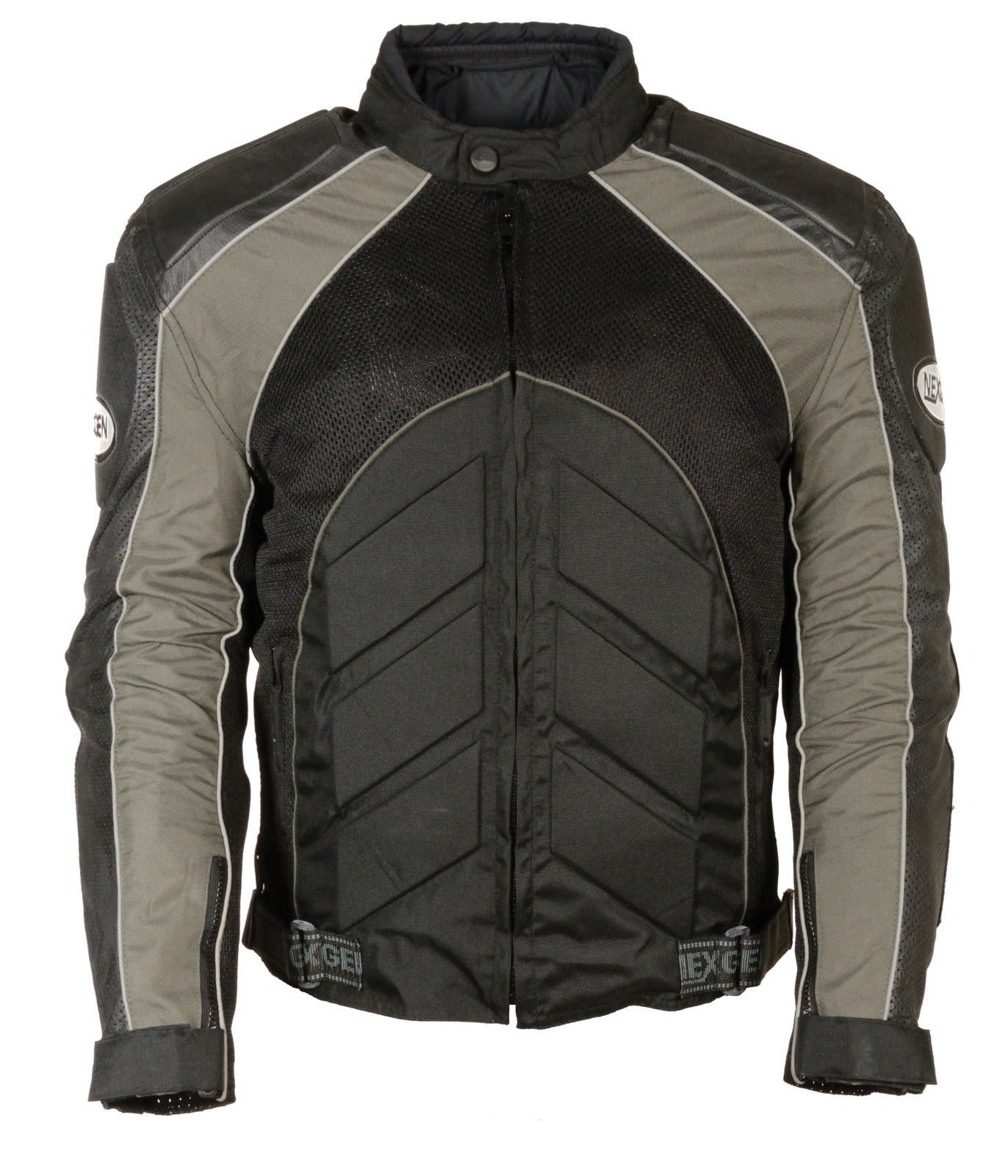 Men's Motorcycle BLK/Grey Mesh/Leather combo textile jacket with armors inside (XL Regular)