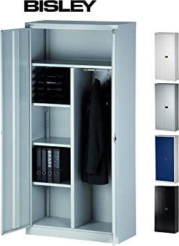 Bisley Aktenschrank Garderobenschrank Kleiderschrank Aus Metall Abschliessbar In 4 Farben Lichtgrau Amazon De Kuche Haushalt