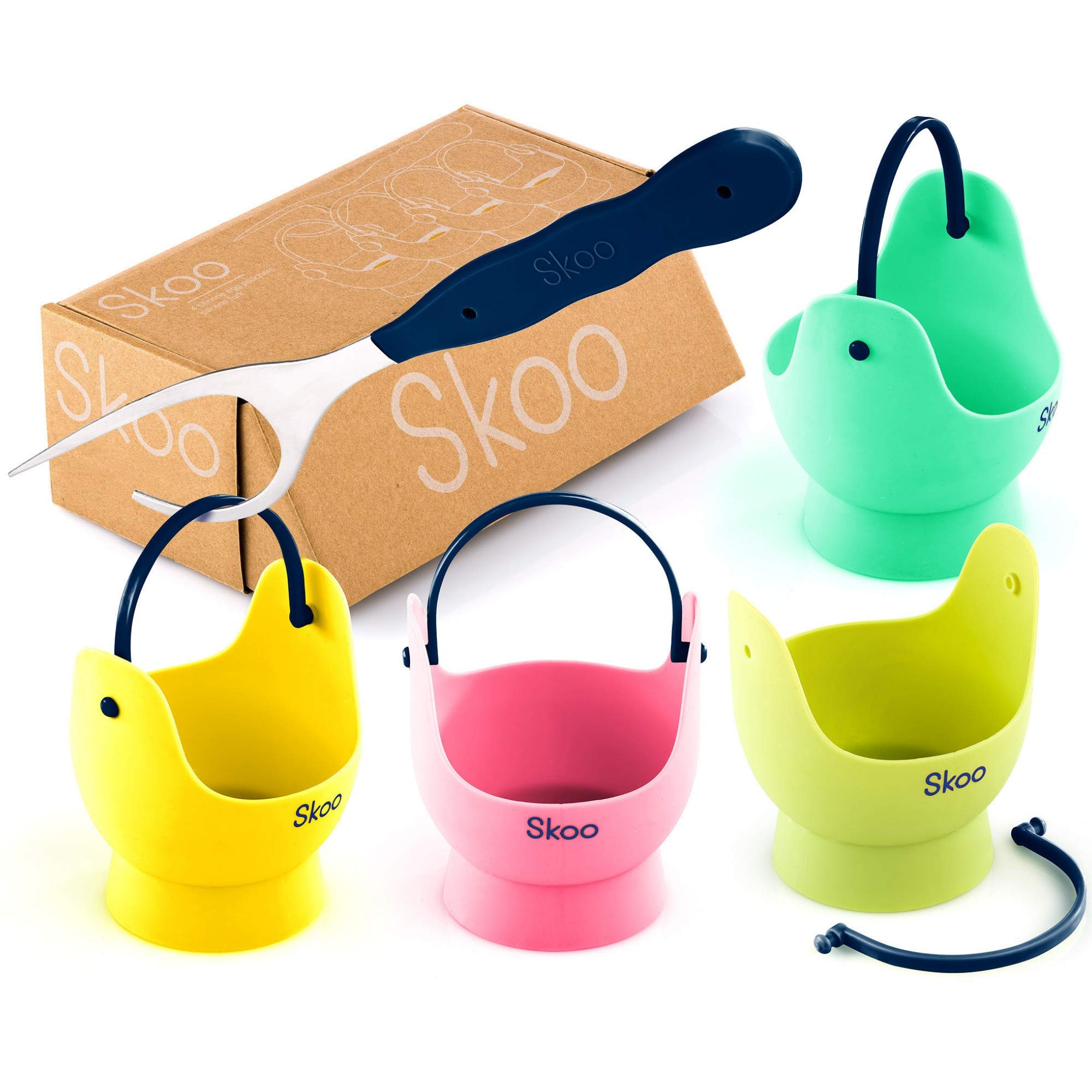 Egg Poacher - Skoo Silicone Egg Poaching Cups + Fork + Bonus eBook - Egg Cooker Set - Perfect Poached Egg Maker - For Stove Top, Microwave and Instant Pot by Skoo