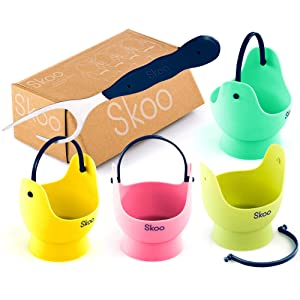 Skoo Silicone Egg Poacher Cups + Free Fork + Bonus eBook - Egg Cooker Set - Perfect Poached Egg Maker - For Stove Top, Microwave and Instant Pot