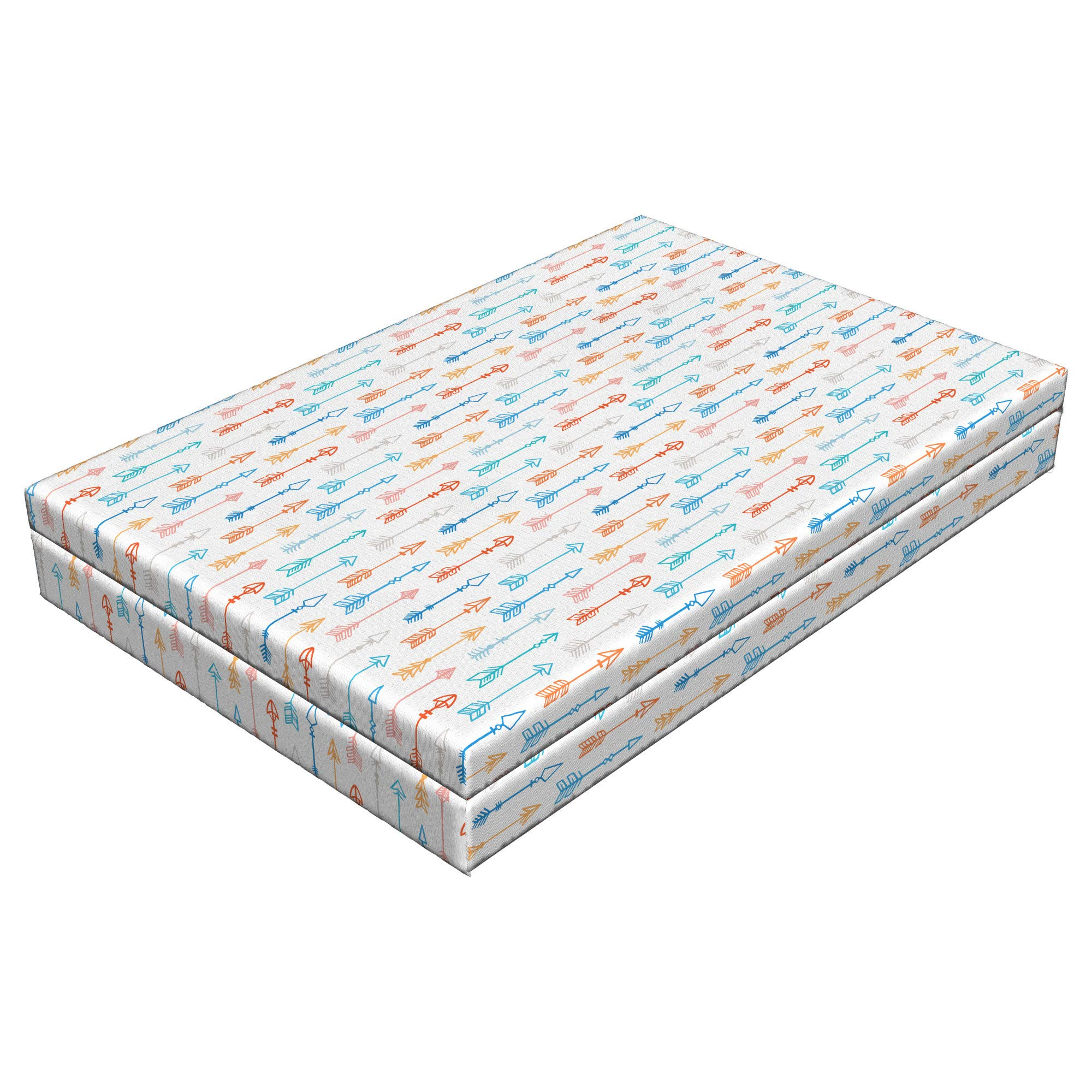 Lunarable Arrow Dog Bed, Colorful Arrow Patterns Historical Old Fashioned Tool Traditional Vertical Art Print, Durable Washable Mat with Decorative Fabric Cover, 48'' x 32'' x 6'', Multicolor