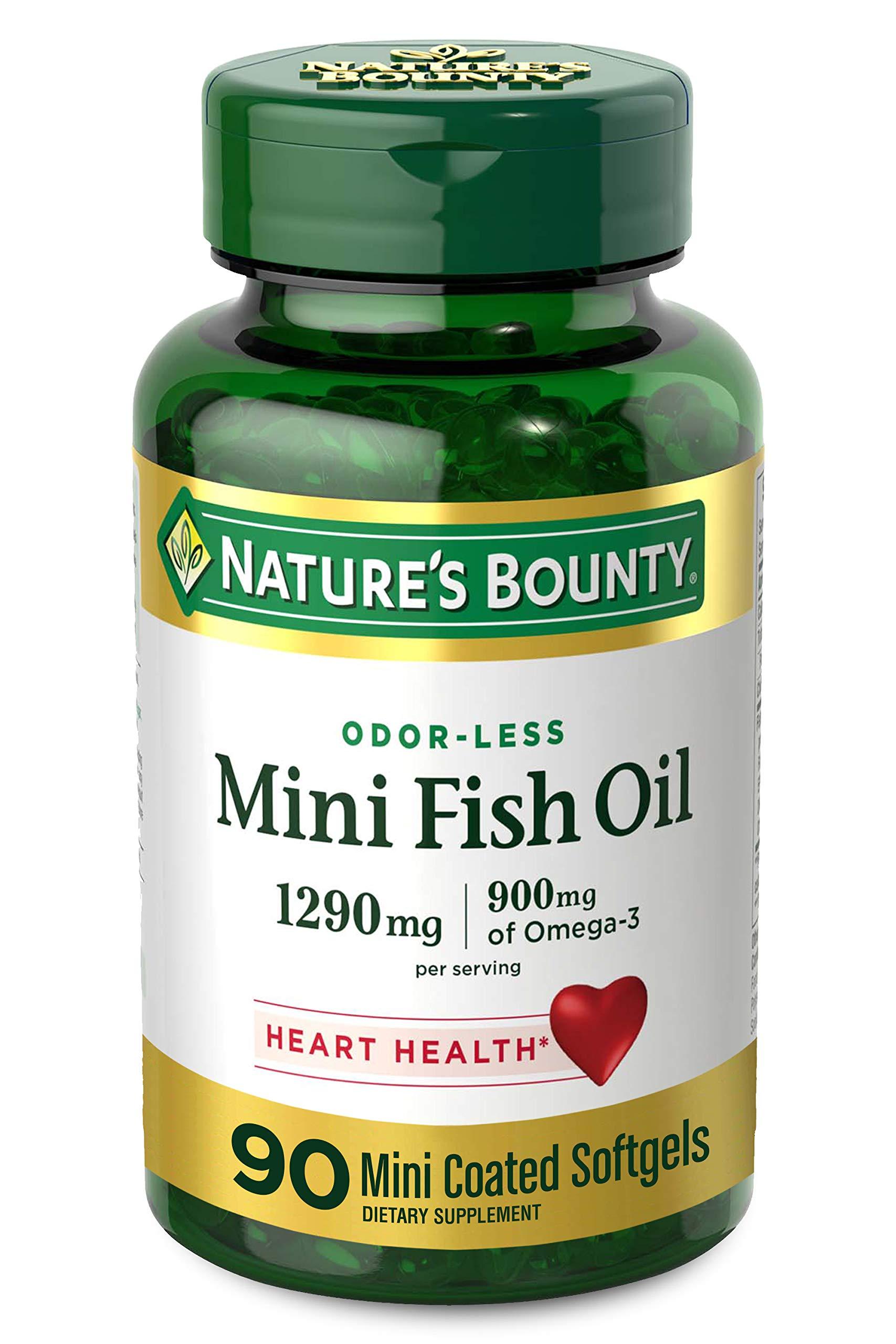 Nature's Bounty Mini Fish Oil, 1290mg, 900mg of Omega-3, 90 Mini Coated Softgels