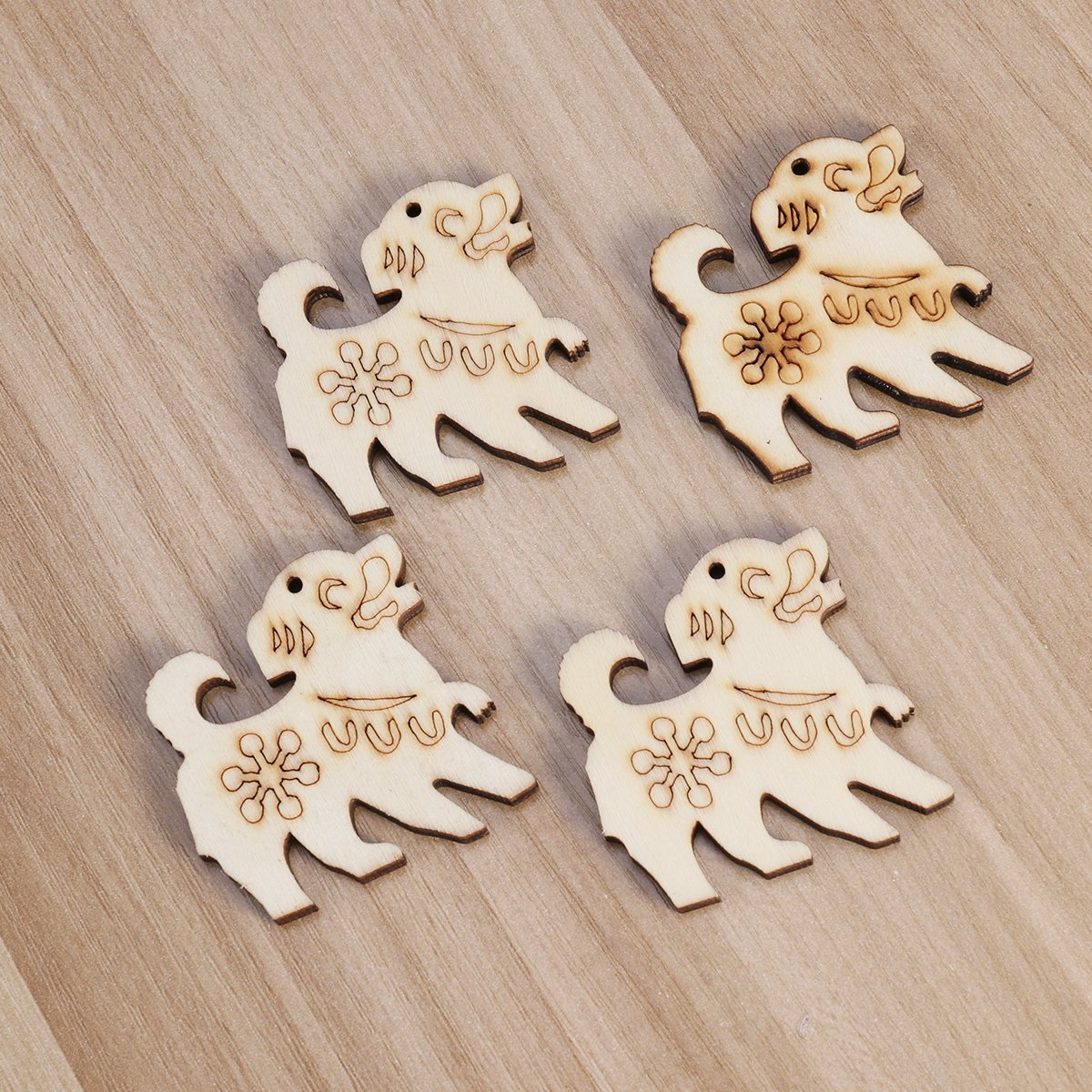 SUPVOX 10Pcs Unfinished Wood Cutout Wooden Dog Shape Natural Wood Pieces for DIY Arts Crafts Projects