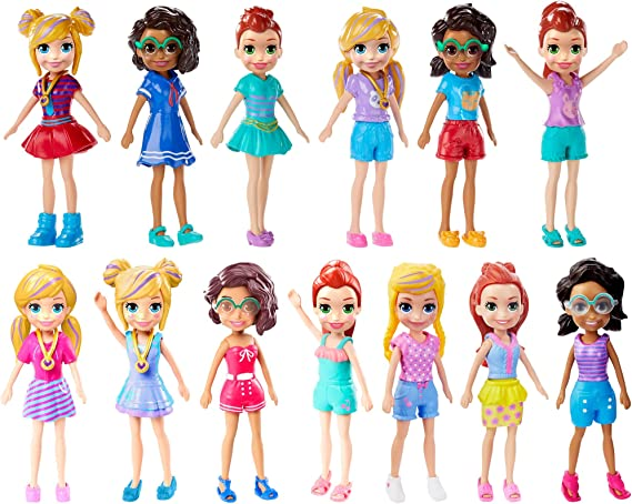 2018 Polly Pocket Mini Figure Doll Trendy Outfit  blue Pink dress