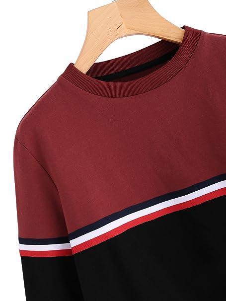 bc24c6cb095683 ROMWE Damen Sweatshirt Pullover Sportlich Baumwolle mit Streifen Langarm  Shirt Pulli: Amazon.de: Bekleidung