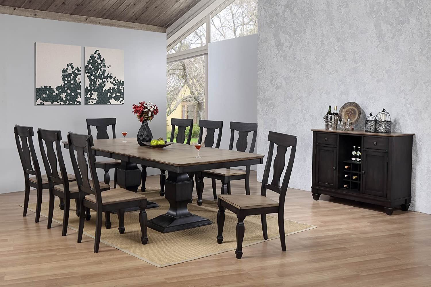 Kings Brand Alleyton 10 Piece Charcoal Oak Wood Dining Room Set, Table, 8 Chairs & Buffet Server