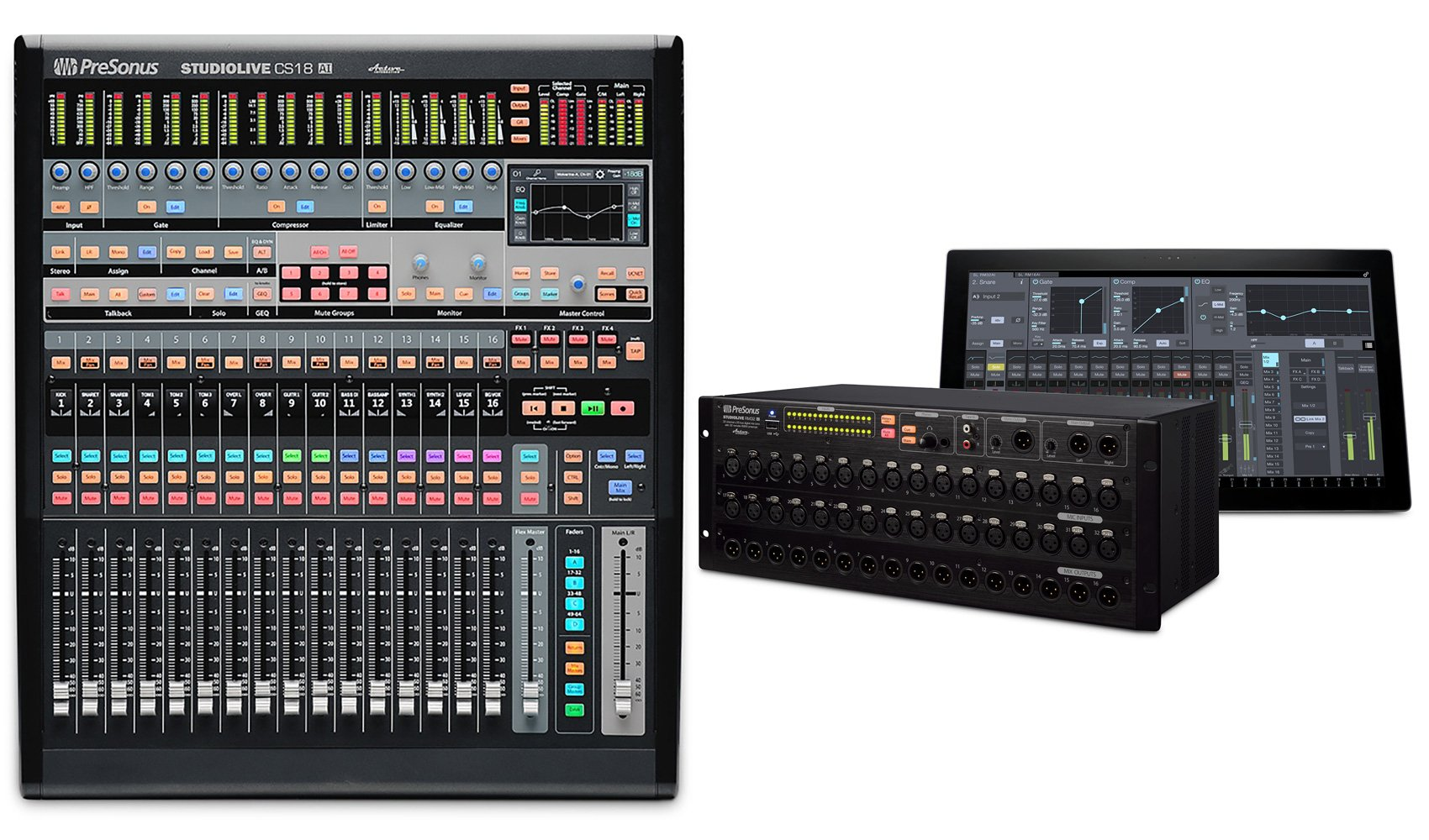 Package: PreSonus StudioLive CS18AI With Ethernet, AVB Control Surface, 18 Moving Faders and 64 Controllable Channels + Presonus StudioLive RM32AI 32-Channel Rack Mount Digital Mixer with 32 Preamps