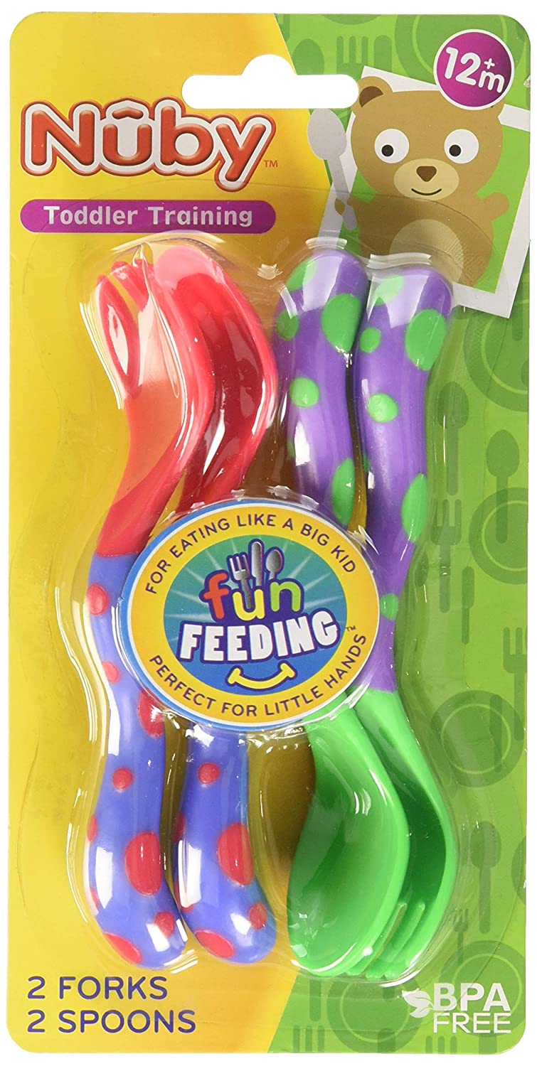 Nuby Fun Feeding Spoons & Forks 2-Pack - red/green, one size