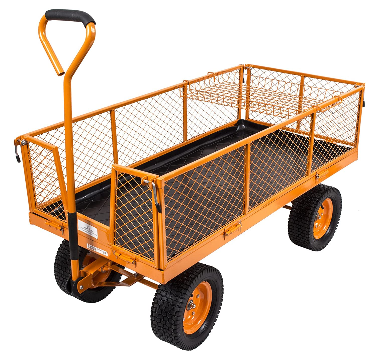 300kg Heavy Duty Mesh Garden Utility Festival Cart Mesh Hand Trolley Truck Barrow Wagon Trailer with Pneumatic Wheels SafetyLiftinGear