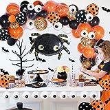 OuMuaMua 121 Pack Halloween Balloon Arch Garland Kit - Black Orange Confetti Balloons with Mylar Spider Balloon for Kids…