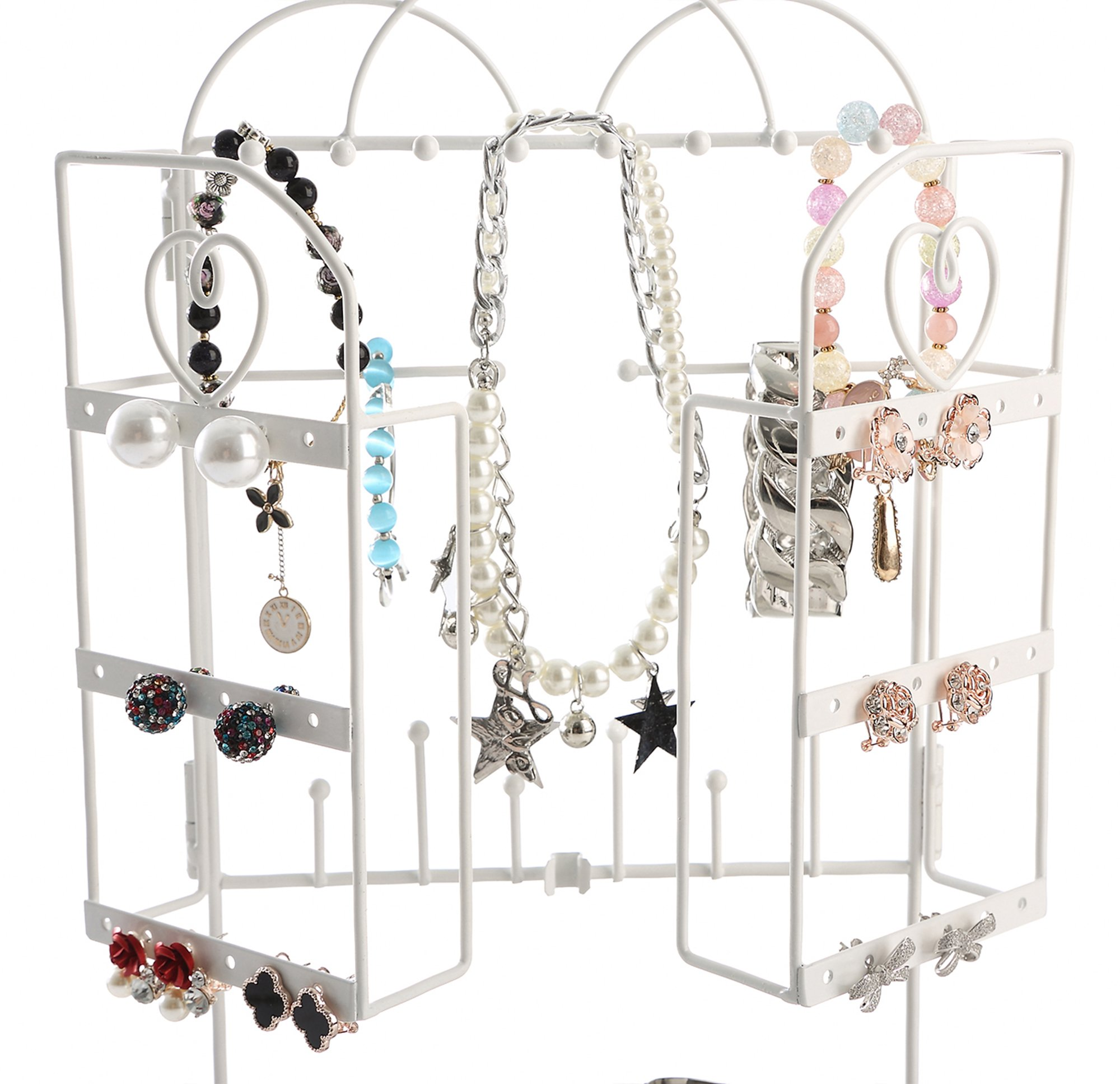 White Metal Foldable Jewelry Organizer Tree Rack for Bracelet, Earrings, Necklace w/ Ring Tray