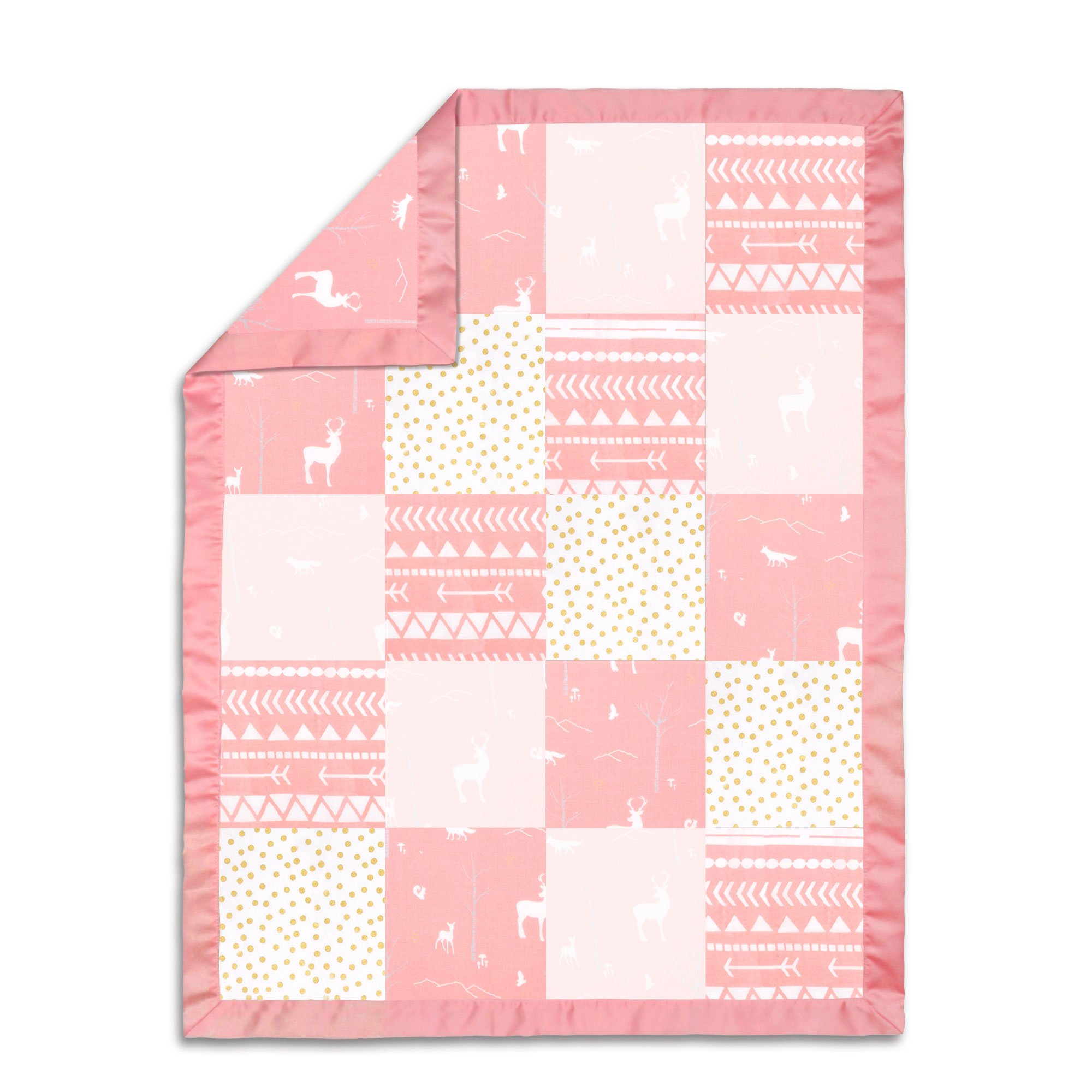 100% Cotton Muslin Coral Woodland Patchwork Baby Blanket by The Peanut Shell