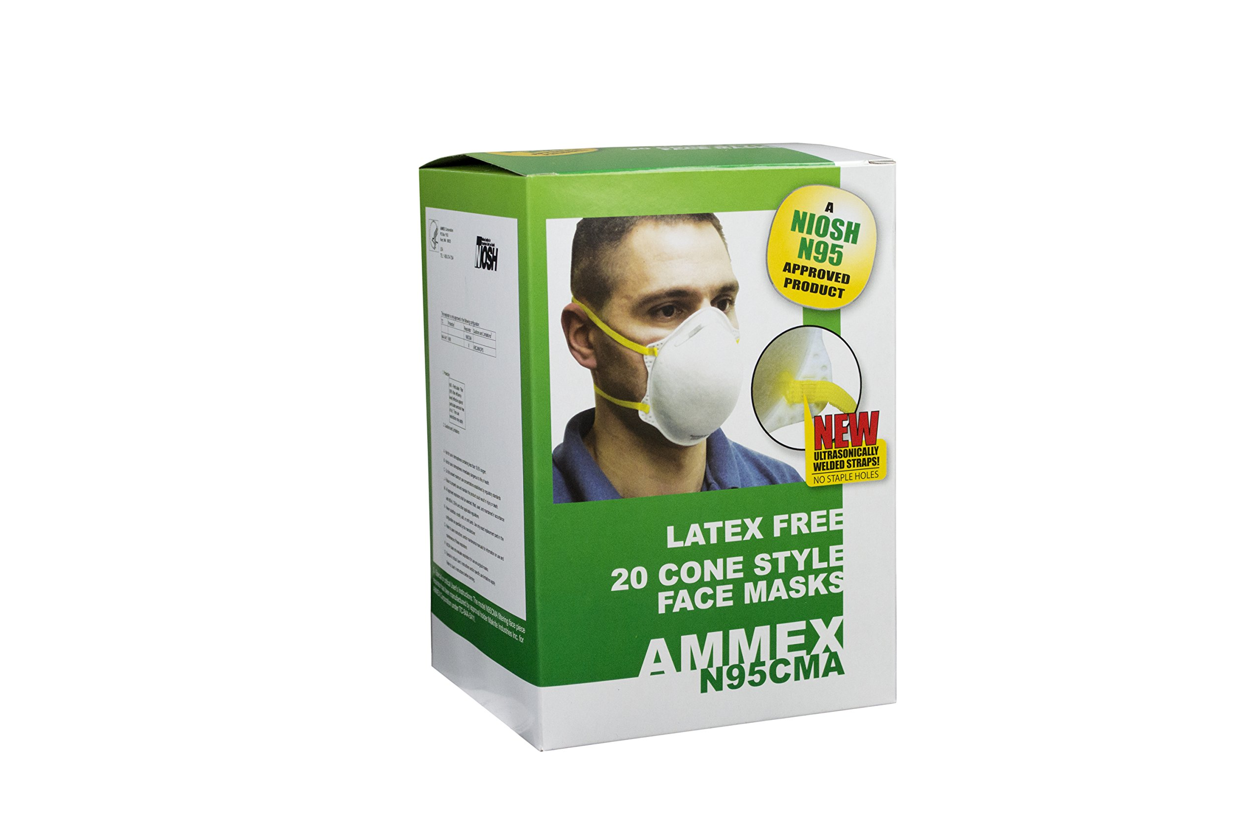 AMMEX - N95CMA - Cone-Style Face Mask - NIOSH Certified, One Size, White (Case of 240)